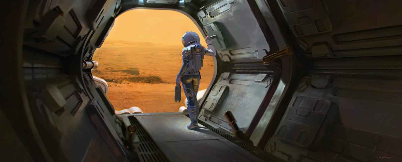 Female astronaut on Mars by Mark Kent
