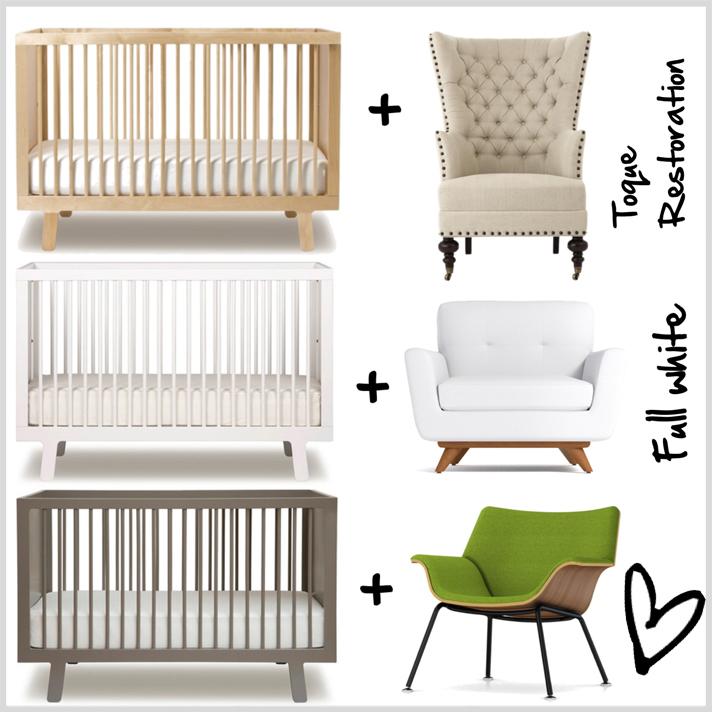 Ideas para cuartos de bebes no tradicionales. Tres opciones diferentes con la misma cuna pero en distinto color