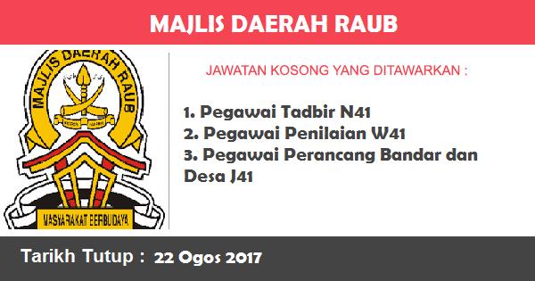 Jawatan Kosong di Majlis Daerah Raub
