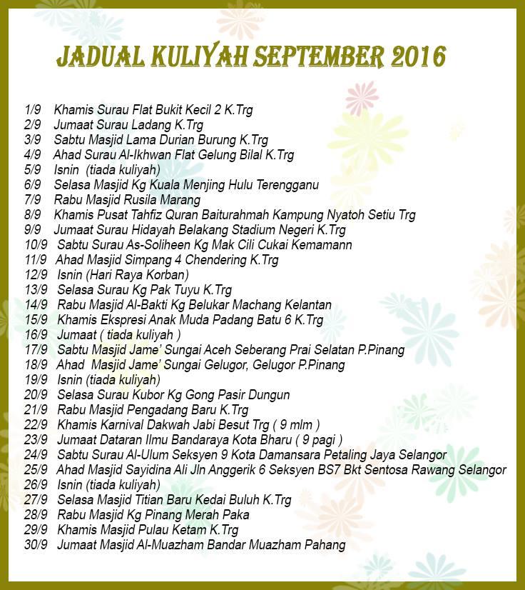 tarikh lokasi Kuliah Ustaz Azhar Idrus Sept 2016