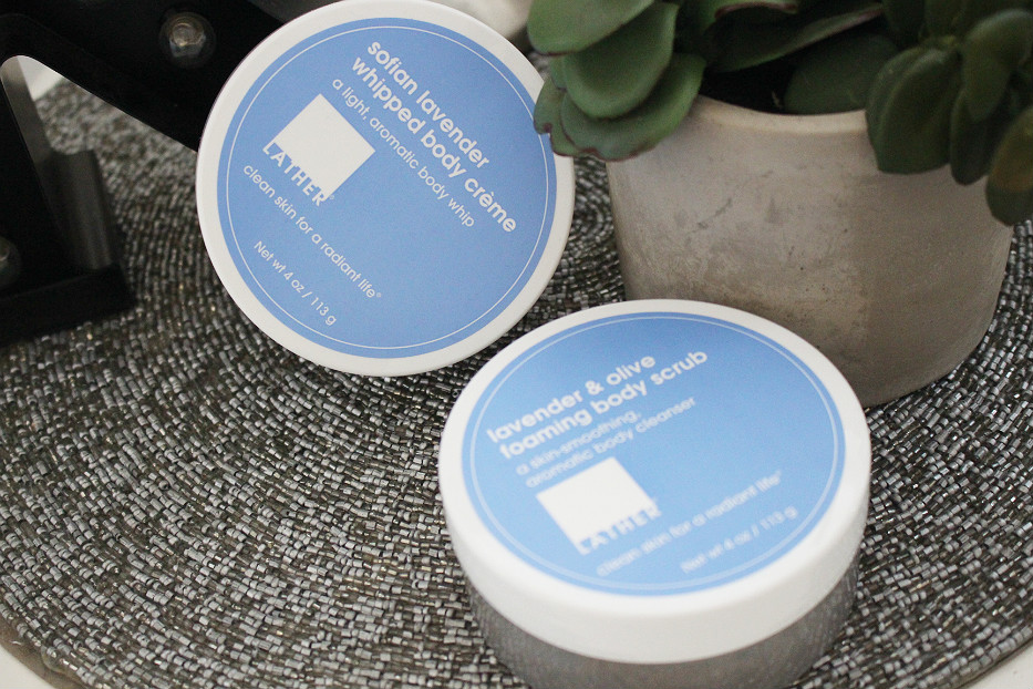 lather spa, lather retreat, sofia lavender whipped body creme, lather lavender and olive foaming body scrub