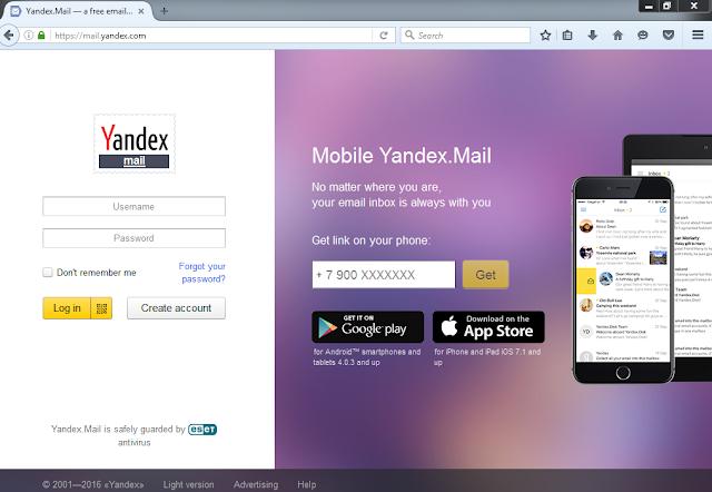 Yandex, Layanan Email Gratis Tanpa Iklan