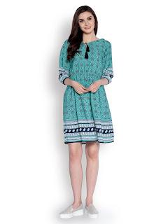 Abiti Bella Women's Green Printed Fit and Flare Border Woven Dress