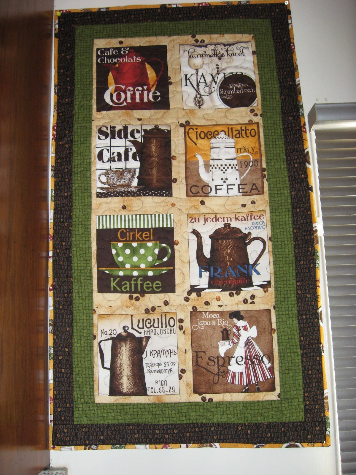 California Quilting Coffee Quilt Wall Hanging