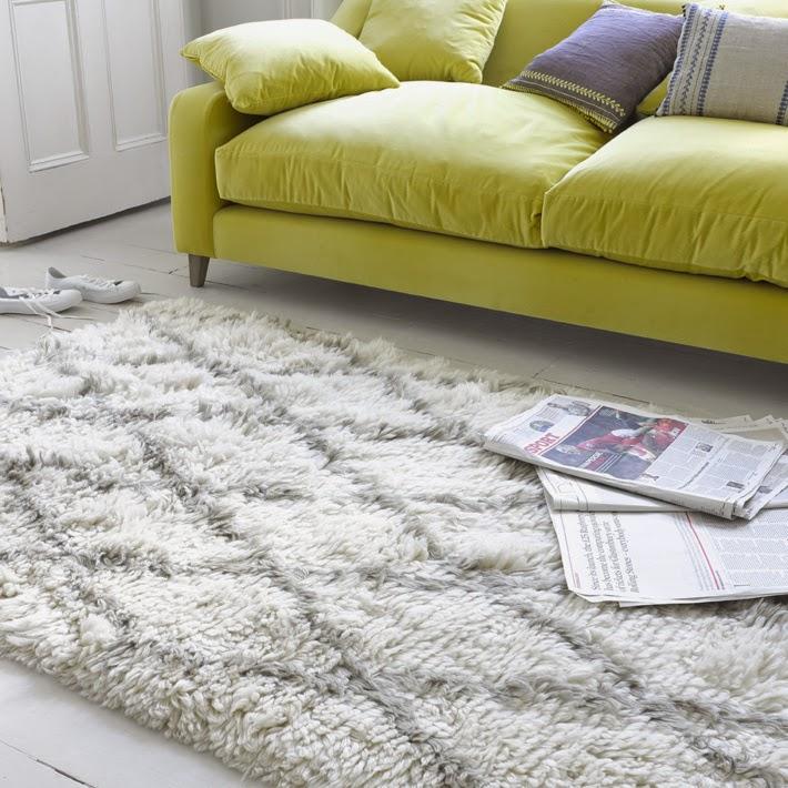 Beni Rug on white floorboards