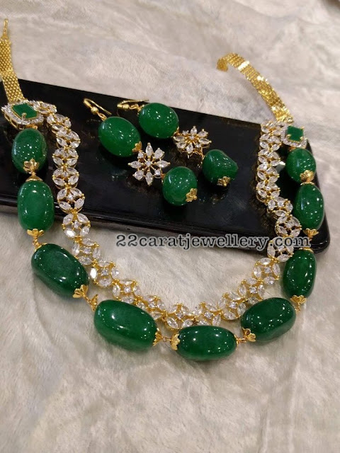 Diamonds and Emerald Beads Two Layer Set