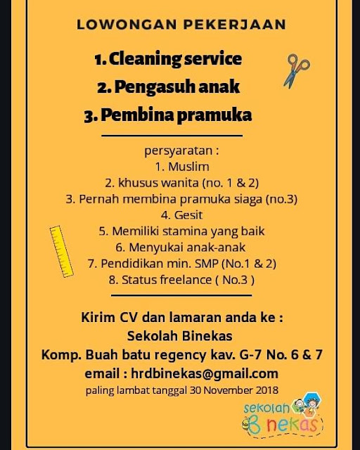 lowongan pekerjaan cleaning service sekolah binekas