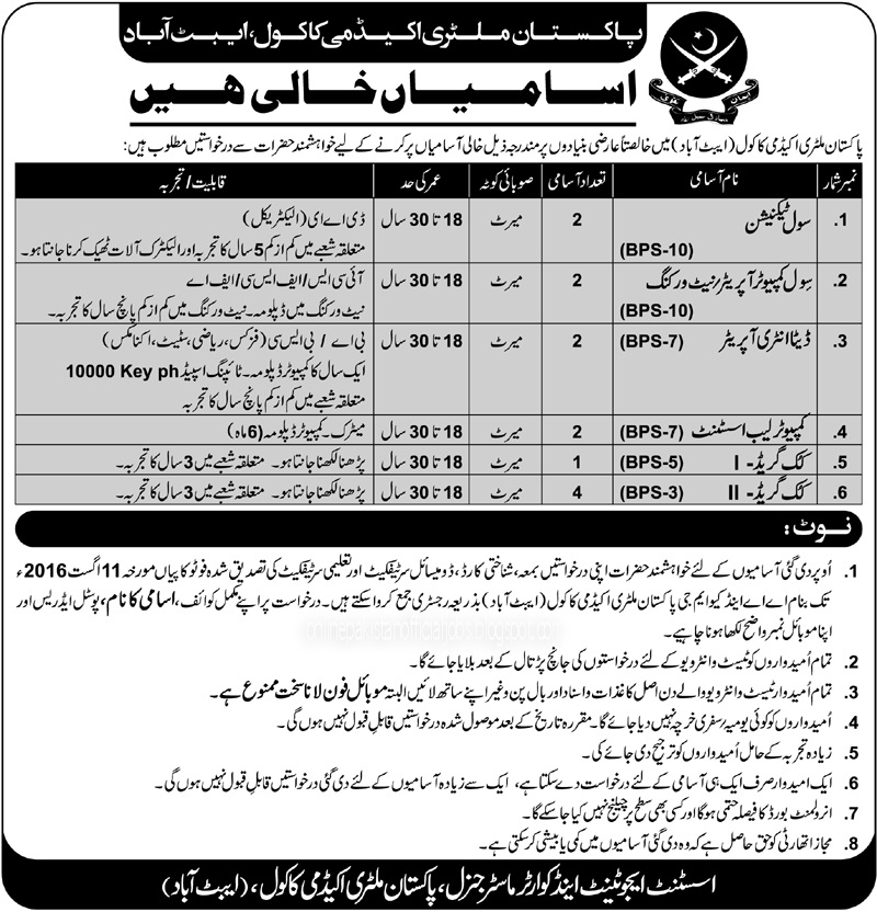 Pakistan Army Abbottabad Jobs JUly 2016