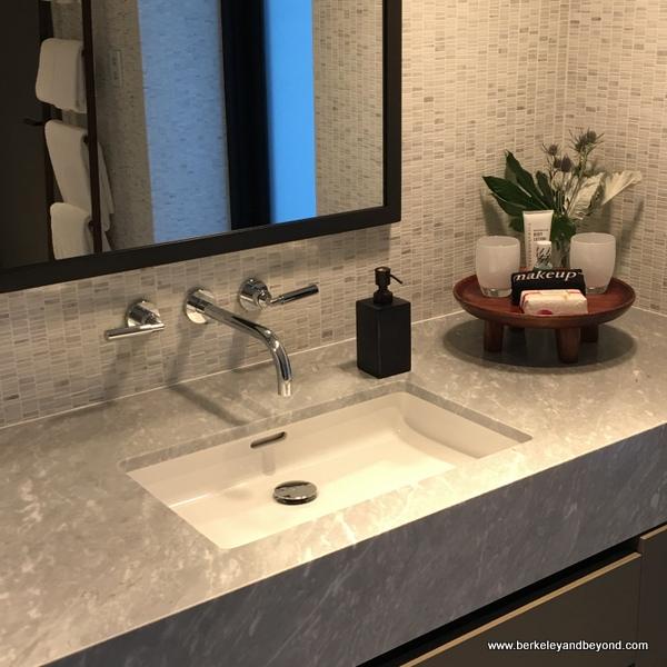 guest room bathroom at Las Alcobas resort in St. Helena, California
