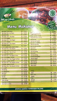 Daftar menu Mie Ceker Bandung di Jogja