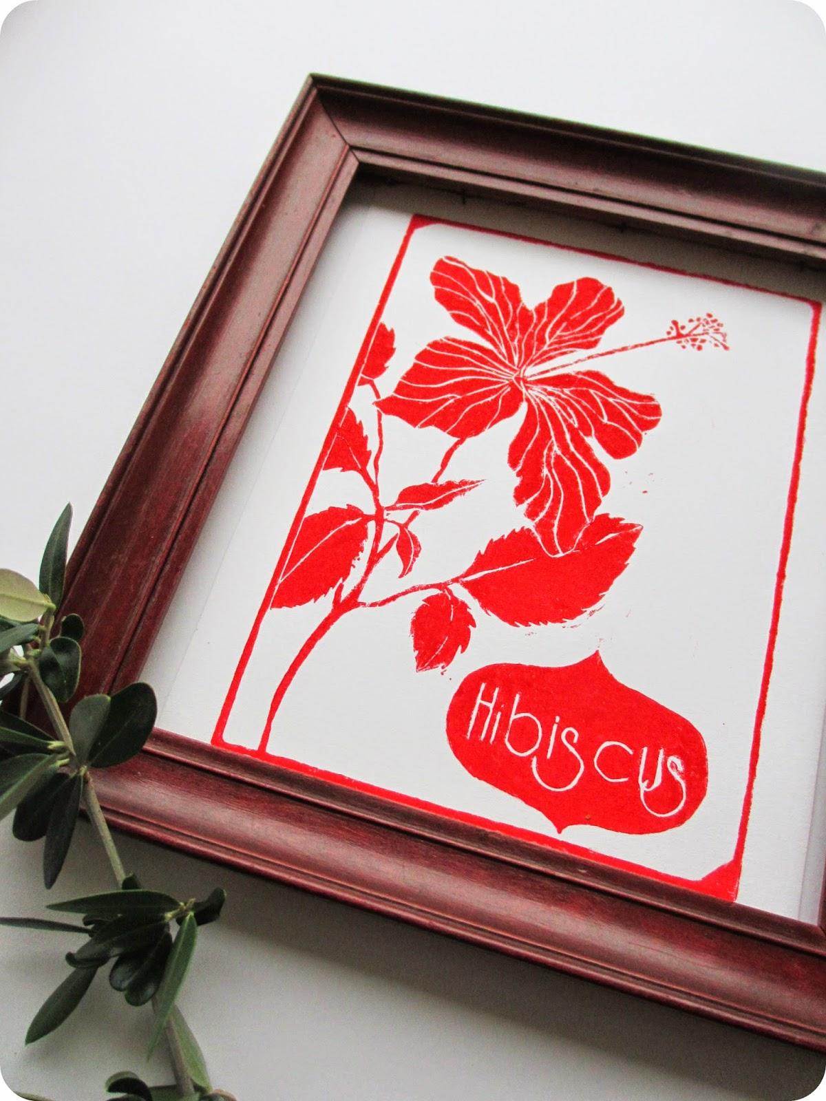tadaam linogravure 1 hibiscus. Black Bedroom Furniture Sets. Home Design Ideas