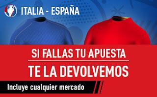 sportium bono 25 euros Italia vs España si fallas devolución 27 junio