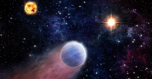This artist's impression shows the atmosphere of a Neptune-like planet (foreground) being swept backwards by powerful radiation from an outburst in the center of the Milky Way Galaxy (right). The outburst of X-rays and ultraviolet light is produced by material falling towards the supermassive black hole located there. The planet's host star is shown on the left.  M. Weiss/CfA