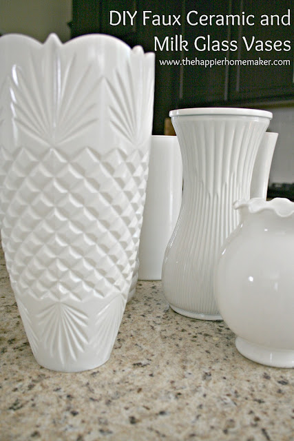 Diy White Faux Ceramic And Milk Glass Vases The Happier Homemaker