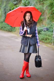 Look con botas de agua rojas en un día lluvioso