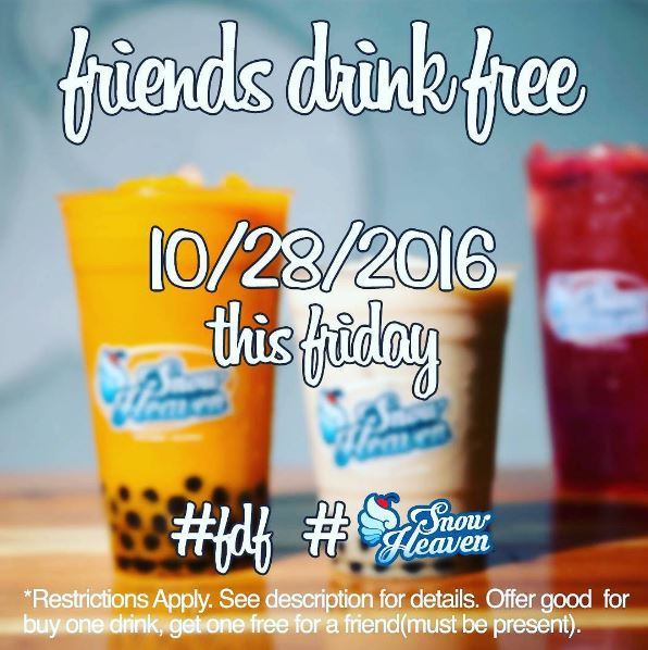 Oct. 28 | Lake Forest's New Dessert Shop Snow Heaven Offers BOGO Free Drinks!