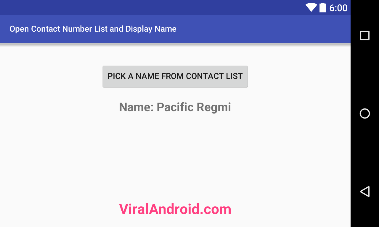 How to Open Contact Number List and Display Name in Android