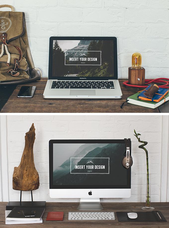 2 Desktop Mock-ups PSD