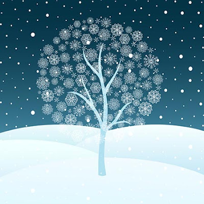 Illustration of a white tree with snowflake leaves on a field of snow in the night