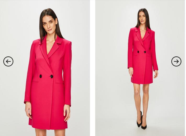 Rochie scurta office tip sacou eleganta cu manenci lungi albastra/ rosie
