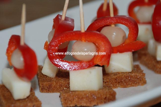 Pincho de queso y pimiento