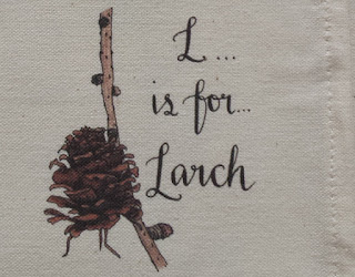 Larch cone illustration by Alice Draws The Line from the Woodland Alphabet tea towel