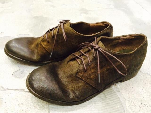 【pas de calais・パドカレ】ホースレザーバックスキン蝋引き加工 短靴