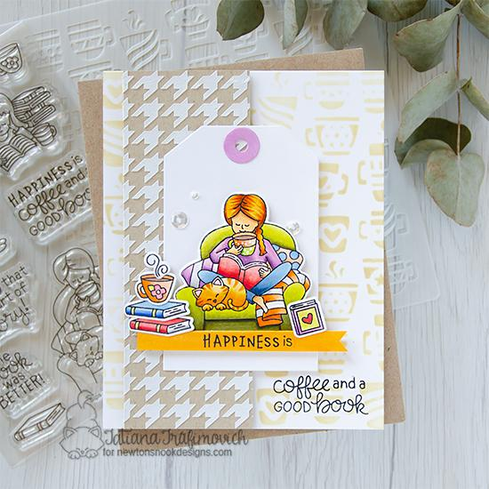 Coffee and Books Card by Tatiana Trafimovich | Sips & Stories Stamp Set, Houndstooth Stencil and Mugs Stencil by Newton's Nook Designs #newtonsnook #handmade