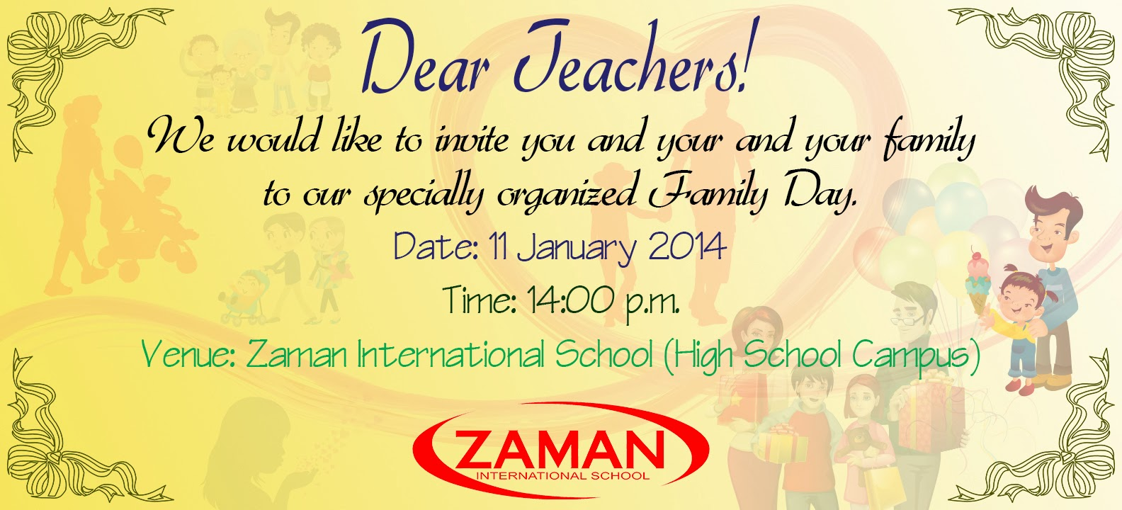 Family Day Invitation Card To Teacher 2014_Layout By: Mr. Soksan Try  Invitation Card For Get Together