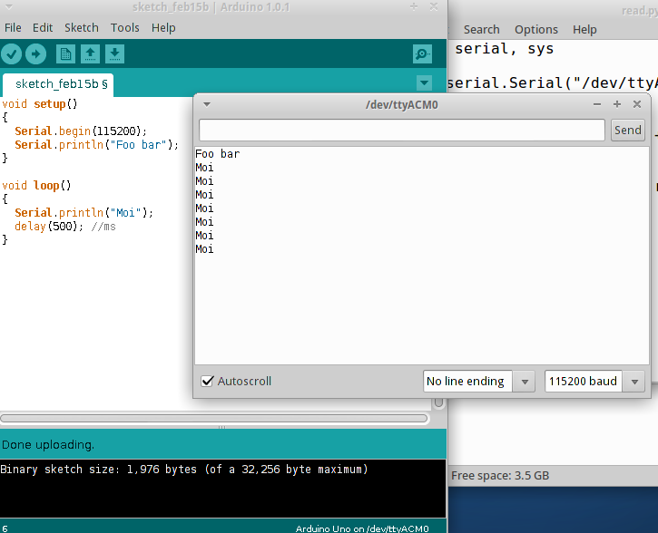 Arduino blog by Niki Ahlskog: Reading and writing serial ports with