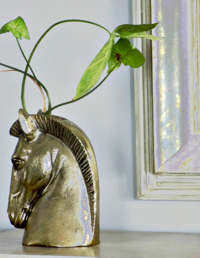 Brass horse head flower vase