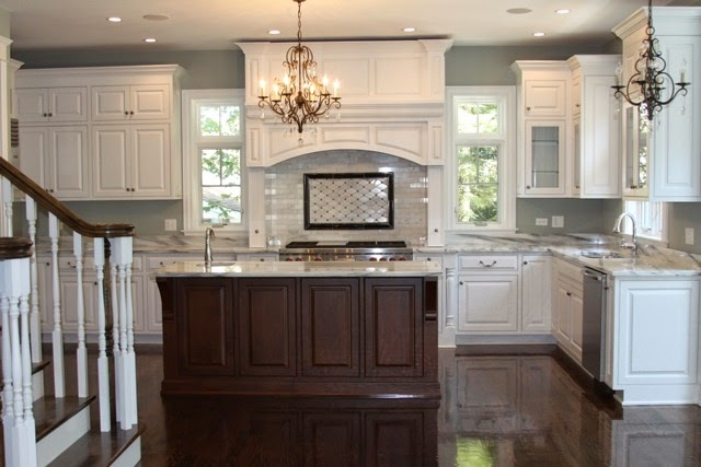 heres another example of the white with the stained island my floors will never be that shiny though not with kids and a golden retriever