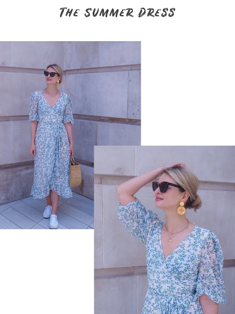 Ganni wrap dress, gold coin earrings, superga white trainers, London street style, Valentino sunglasses