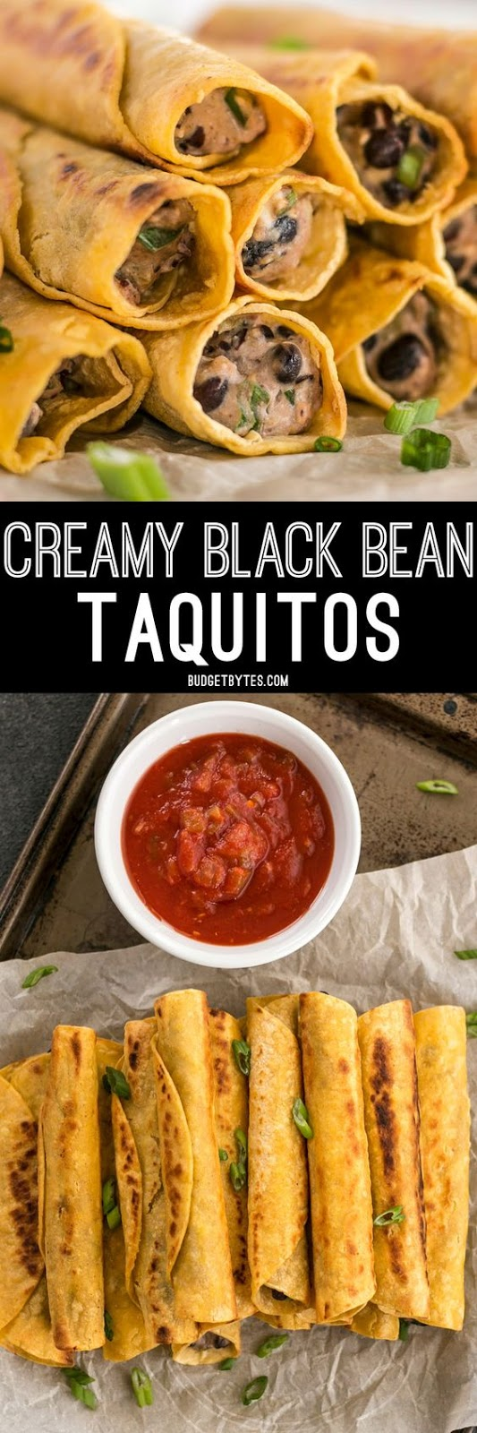 Creamy Black Bean Taquitos are an easy, tasty, and inexpensive appetizer for football parties or just for fun!