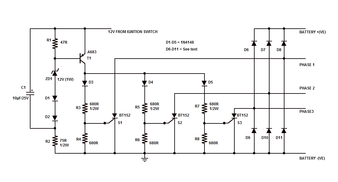 motorcycle shunt regulator circuit using scr electronic circuit the network c1 r1 r2 zd1 d1 and d2 forms the voltage detection circuit and it is designed to trigger at about 14 4 volts as soon as charging system