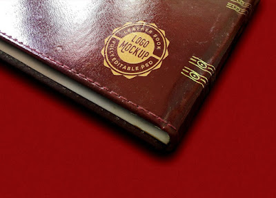 Vintage Leather Book Logo Mockup