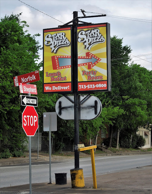Star Pizza Post Sign at corner of S Shepherd and Norfolk