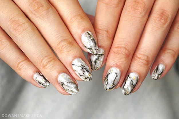 Grey marble nail art