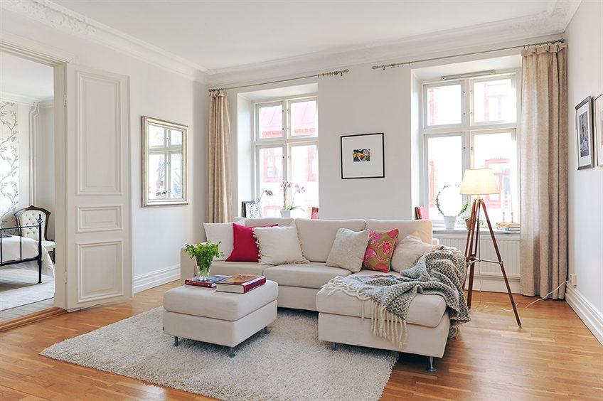 Gorgeous Swedish style neutral romantic decor in Stockholm apartment