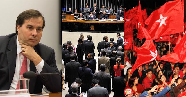 """Se houver dúvida sobre o significado da expressão """"cretinismo parlamentar"""", os principais partidos da esquerda brasileira correm o risco de esclarecê-la cabalmente. Setores relevantes das bancadas do PT e do PCdoB na Câmara dos Deputados, ao flertar com o apoio a Rodrigo Maia (DEM-RJ) para a chefia da casa, apresentam-se para queimar em praça pública a bandeira da luta antigolpista. Traduz-se como vergonha e erro grosseiro, afinal, a simples especulação sobre a possibilidade de alinhamento com um dos expoentes da campanha do impeachment da presidente Dilma Rousseff, além de representante visceral da agenda conservadora.  Vale mesmo a pena dar um tapa na cara da resistência democrática e popular, em troca de duvidosos benefícios no jogo interno e de fantasiosa expectativa na divisão da base do governo Temer?  Não ocorre aos defensores dessa iniciativa o perigo real e imediato de desmoralizar o discurso que vem permitindo unificar as mais diversas vozes progressistas, marcado pela demarcação incontestável de fronteiras com o campo do golpismo?"""