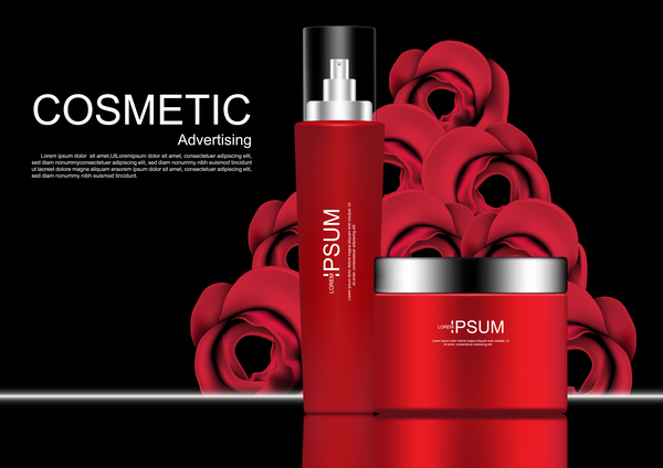 cosmetic ads vector Cosmetic ads poster whitening cream with rose free vector