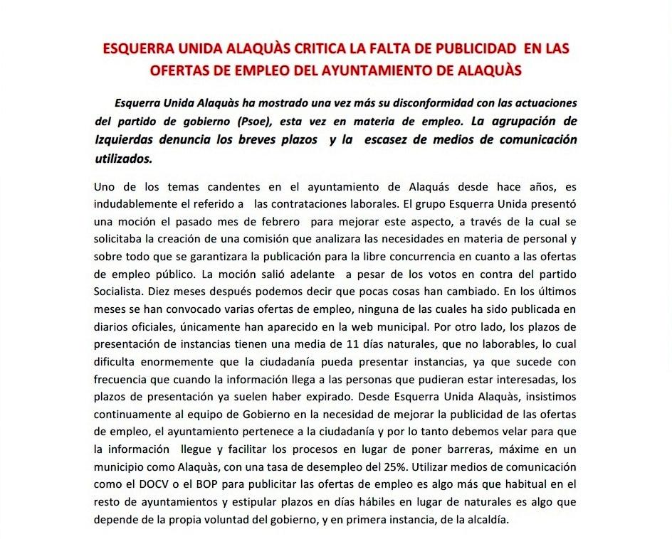Esquerra unida alaquas critica la falta de publicidad en las ofertas de empleo del ayuntamiento - Trabajo en alaquas ...