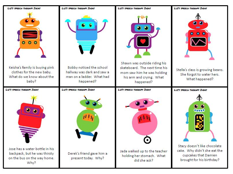 Liz S Speech Therapy Ideas Robot Inference Cards