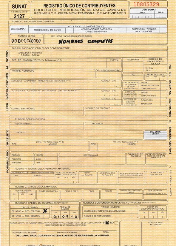 Qué es formulario 2127? | Tramites Sunat