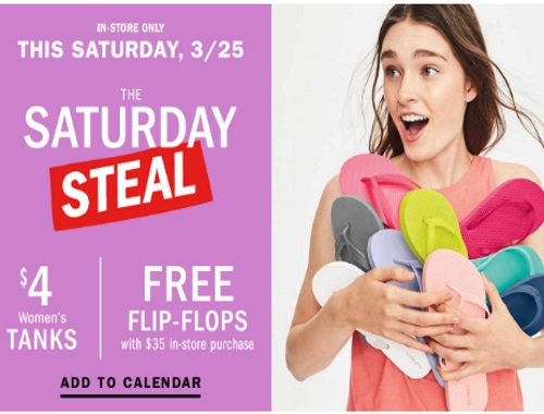 Old Navy Free Flip Flops Saturday Steal