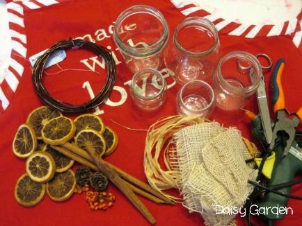 Daisy garden vasetti di vetro decorati con le arance secche - Arance secche decorazione ...