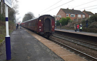 The back of the last carriage forming the Buxton Spa Express