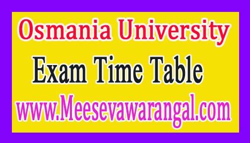 Osmania University Adv PG Diploma 1st / 2nd Sem Jan 2016 Exam Time Table