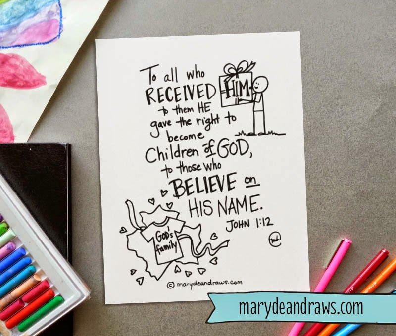 Printable Scripture Coloring Page  John 1 12   Marydean Draws I have another memory verse printable coloring page for you  You can see  them all here