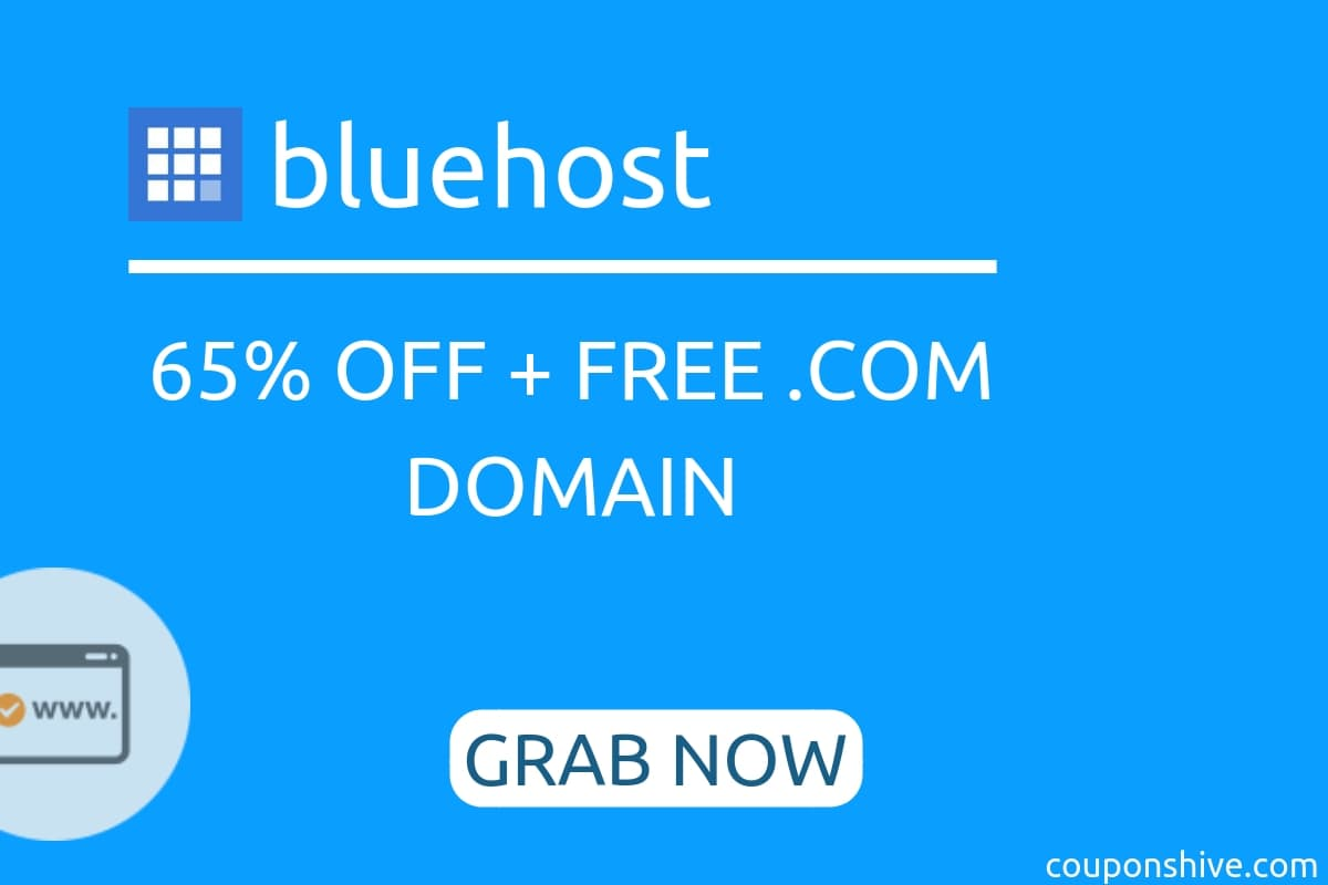 BlueHost Hosting Coupon | Upto 75% OFF + FREE .COM Domain - couponshive.com